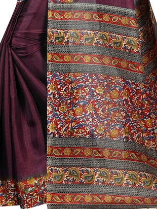 Multicolored pallu bordered saree with blouse - 15419926 - Standard Image - 4