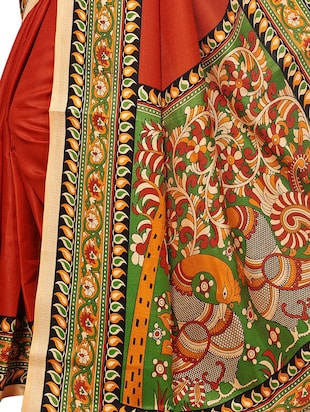 Multicolored pallu bordered saree with blouse - 15419932 - Standard Image - 4