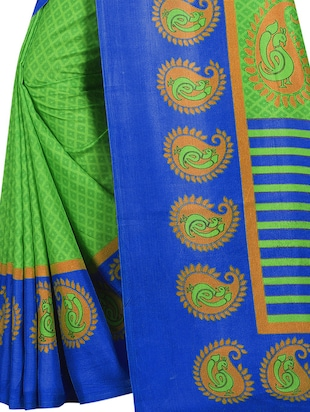 Paisley bordered geometrical saree with blouse - 15419936 - Standard Image - 4