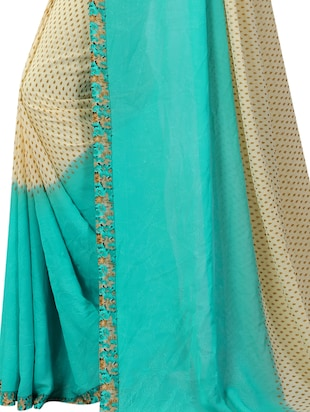Contrast bordered printed saree with blouse - 15419964 - Standard Image - 4