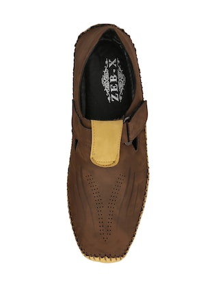 brown leatherette slip on sandals - 15420354 - Standard Image - 4