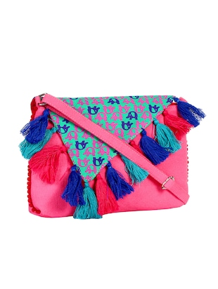 pink canvas regular sling bag - 15420998 - Standard Image - 4