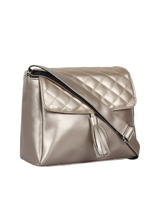 metallic leatherette (pu) regular sling bag - 15421012 - Standard Image - 4