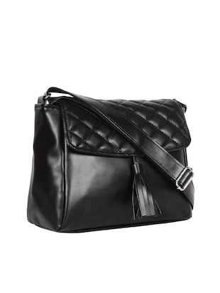 black leatherette (pu) regular sling bag - 15421013 - Standard Image - 4