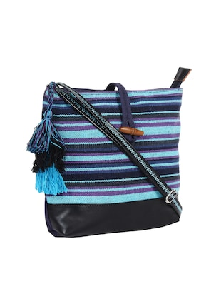 blue canvas regular sling bag - 15421026 - Standard Image - 4