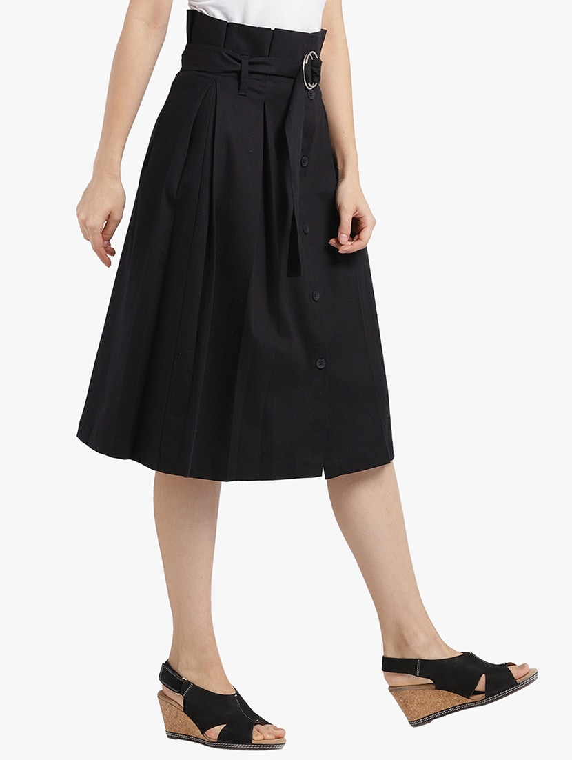 8e358418caa1 Buy Belted Button Down Box Pleat Skirt for Women from Leo Sansini for ₹945  at 57% off | 2019 Limeroad.com