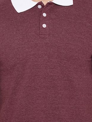 maroon cotton polo t-shirt - 15434117 - Standard Image - 4