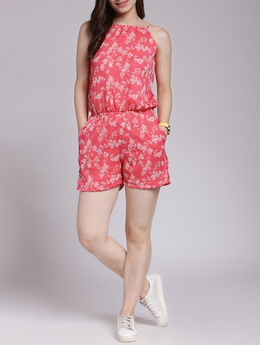 NEW Girls Romper Size XS 4-5 Blue Floral Sleeveless Shorts Outfit Jumpsuit