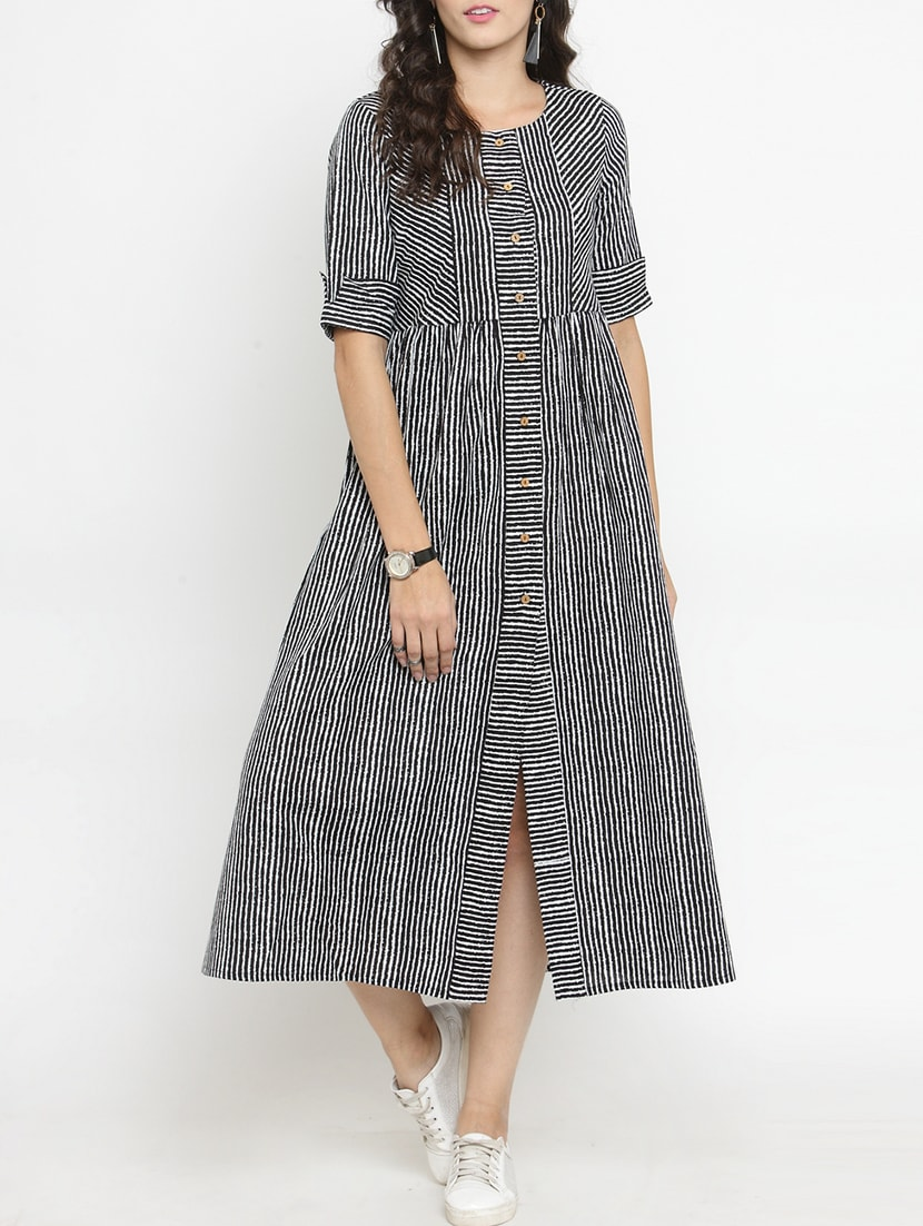 180c04390 Buy Striped Button Down A-line Dress for Women from Varanga for ₹947 at 59%  off | 2019 Limeroad.com