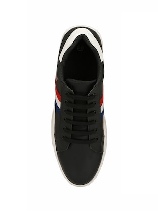 black leatherette lace up sneakers - 15436965 - Standard Image - 4