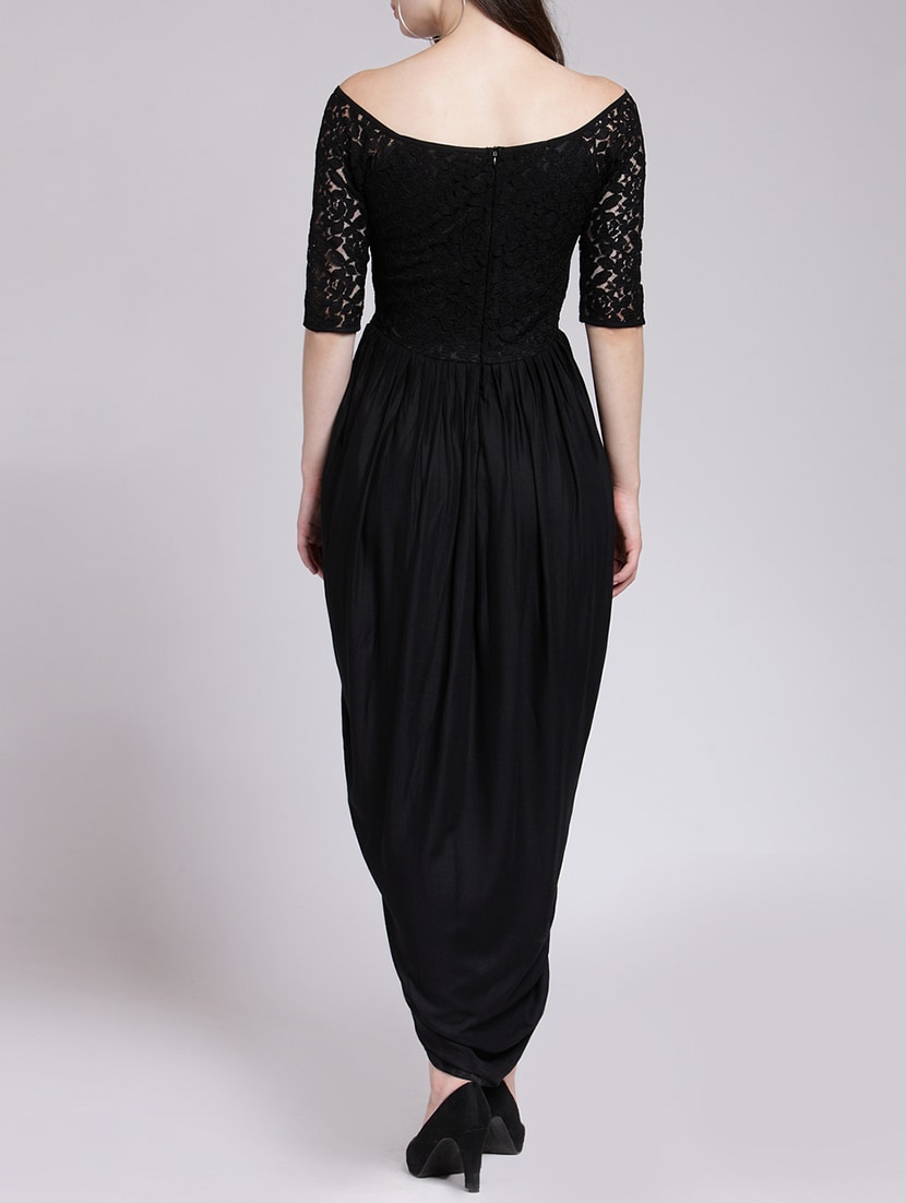 Buy Lace Boat Neck Tulip Dress by Cation - Online shopping for ...