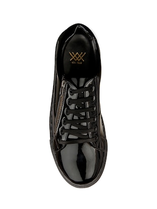black leatherette lace up sneakers - 15438485 - Standard Image - 4