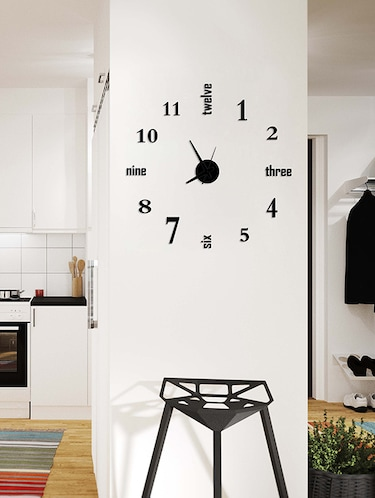 Designer Self Adhesive Innovative DIY (Do It Yourself) Analog Wall Clock - (Black) - 15438764 - Standard Image - 1