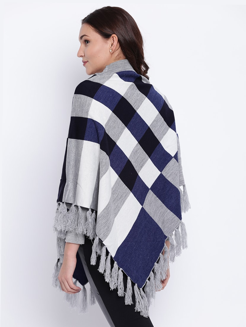 65af76f527 Buy Tassel Detail Checkered Woolen Poncho for Women from Cayman for ₹800 at  65% off