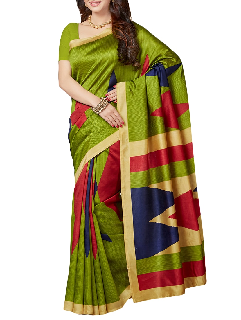 c1714a9ce13df ... of 2) multicolor printed silk blend saree combo with blouse - 15443071 -