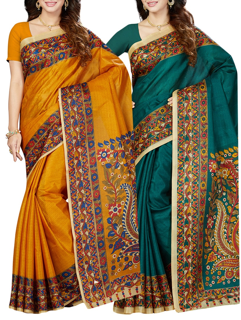 8f0485c0a47e8 Buy (pack Of 2) Multicolor Printed Silk Blend Saree Combo With Blouse for  Women from Ishin for ₹939 at 64% off   2019 Limeroad.com