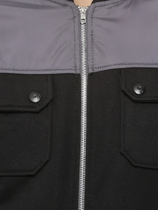 black cotton casual jacket - 15443872 - Standard Image - 4