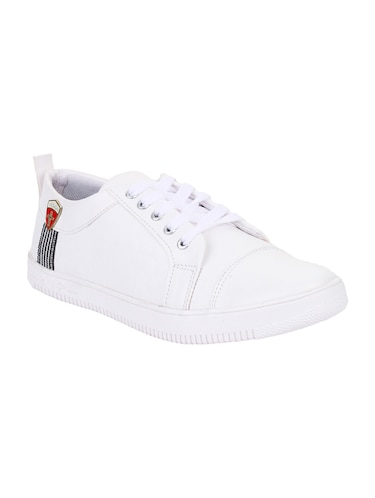 white leatherette lace up sneakers - 15443939 - Standard Image - 1