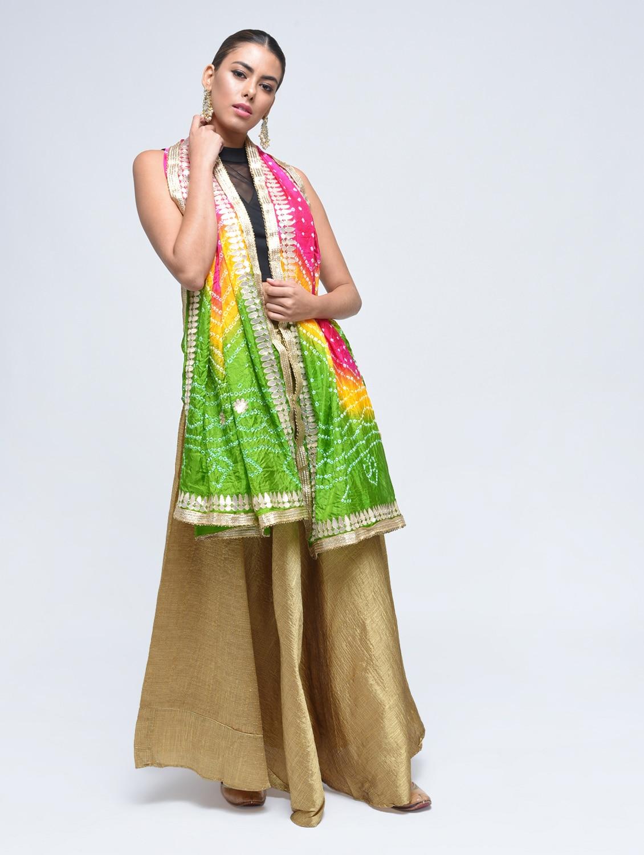 8d7a3617d902d3 Multi Colored Art Silk Bandhani Dupatta