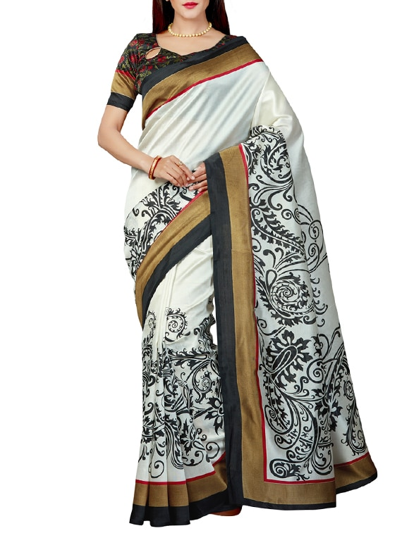 1290f26ef61e0 Buy Contrast Bordered Bhagalpuri Saree With Blouse by Saree Swarg - Online  shopping for Sarees in India