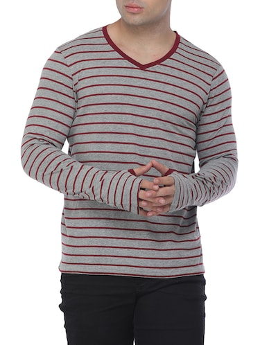 grey cotton blend thumbhole t-shirt - 15444919 - Standard Image - 1