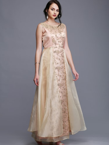 gold silk blend flared gown - 15445044 - Standard Image - 1