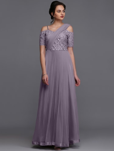 Embroidered flared gown - 15445045 - Standard Image - 1
