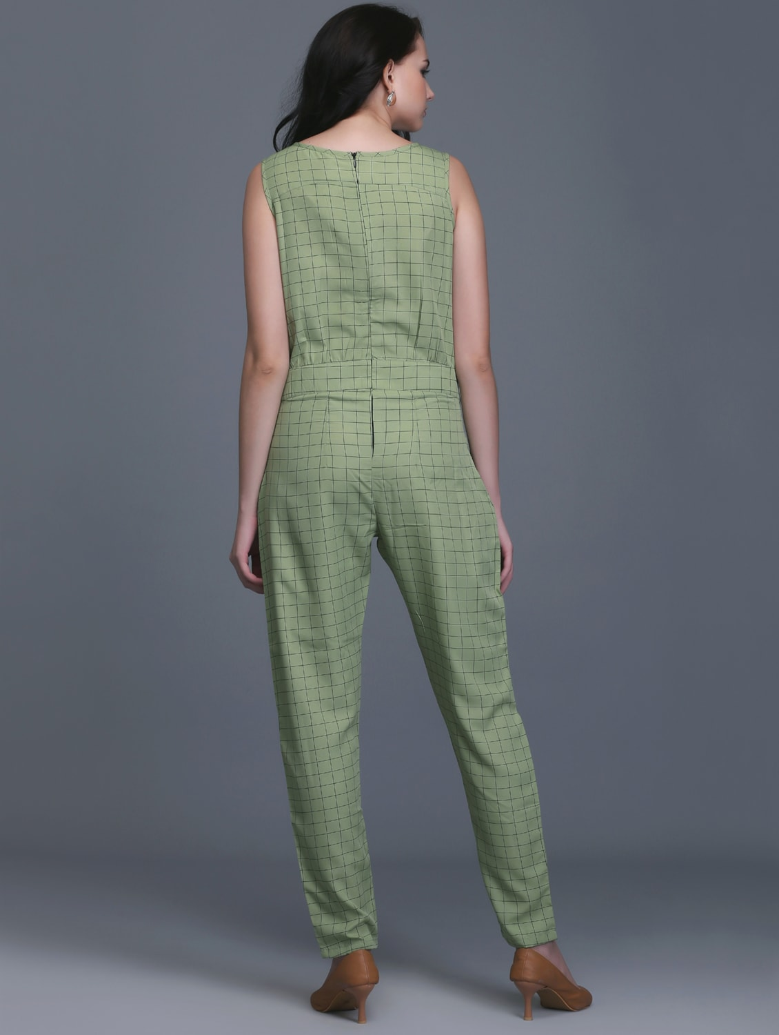02ce04c4804 Buy Full Leg Checkered Pleated Jumpsuit for Women from Eavan for ₹1579 at  7% off