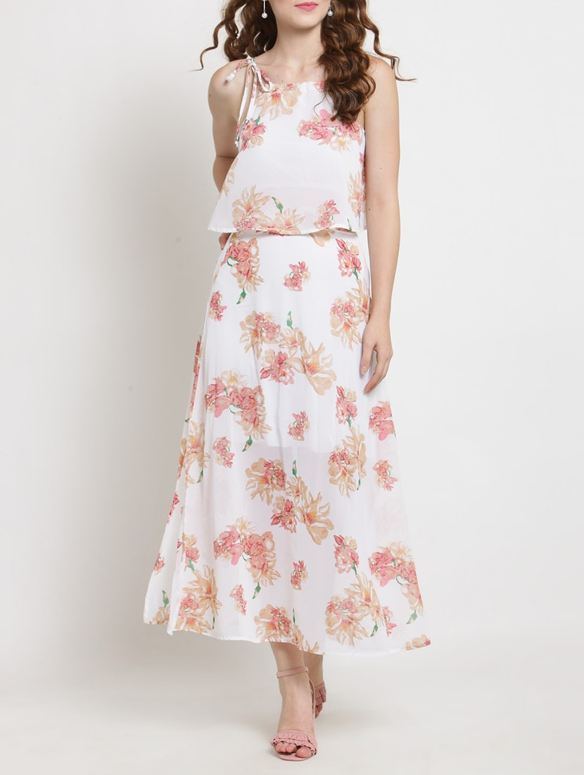 38a5018a6 Floral Crop Top And Maxi Skirt Set