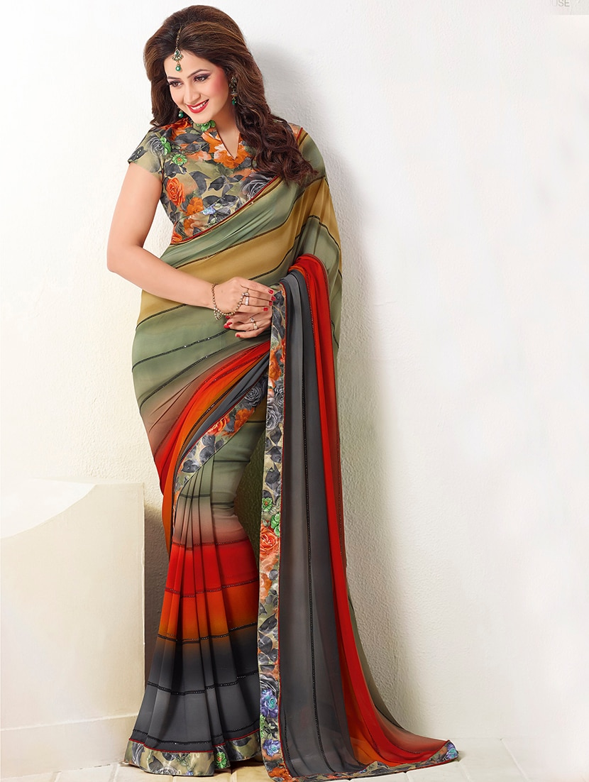 a8ada1ae9ccffc Stripes Printed Saree With Blouse