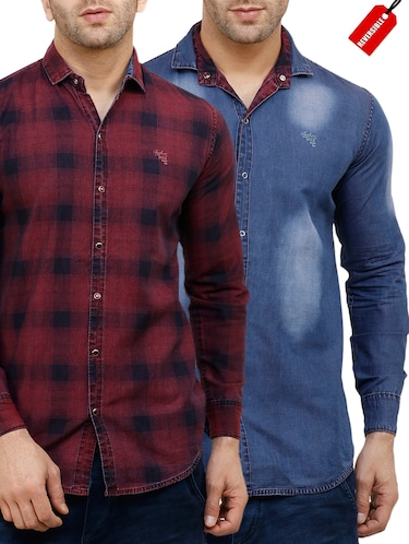red cotton reversible casual shirt - 15455469 - Standard Image - 1