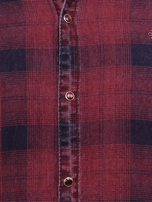 red cotton reversible casual shirt - 15455469 - Standard Image - 4