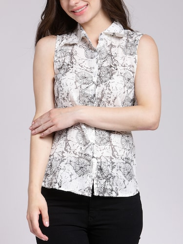 Cycle print button up shirt - 15457353 - Standard Image - 1