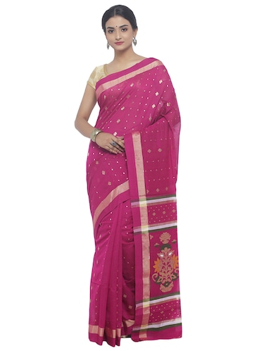 Golden Zari jamdani saree with blouse - 15458778 - Standard Image - 1