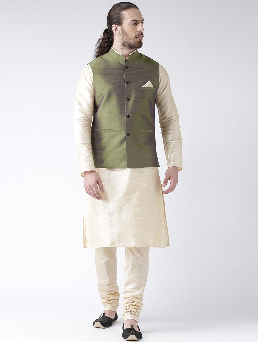 52fcf0f93 Buy White Silk Blend Kurta Pyjama Set With Nehru Jacket for Men from Deyann  for ₹2202 at 52% off