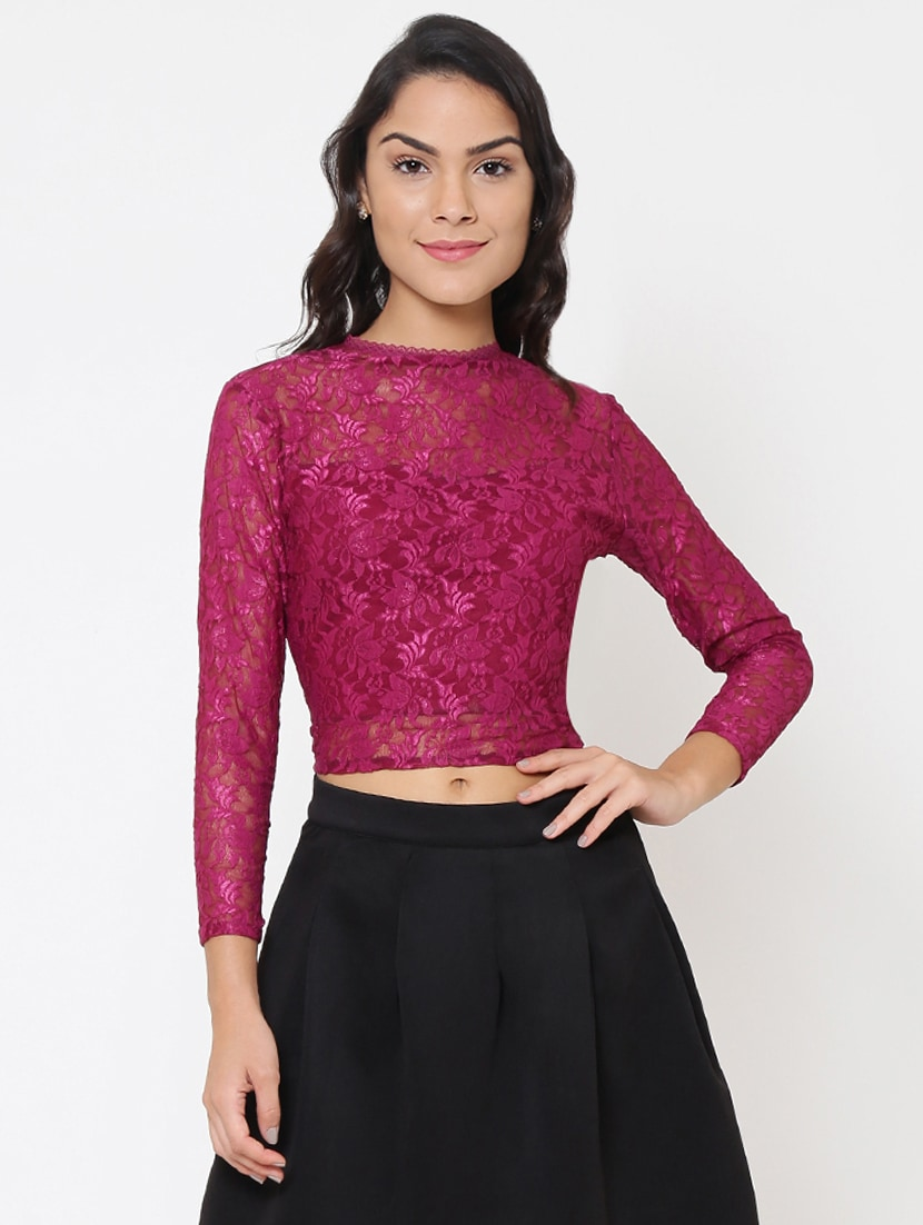 a48ee072dab041 Buy Back Zip-up Lace Detailed Crop Top for Women from Martini for ₹845 at 11%  off