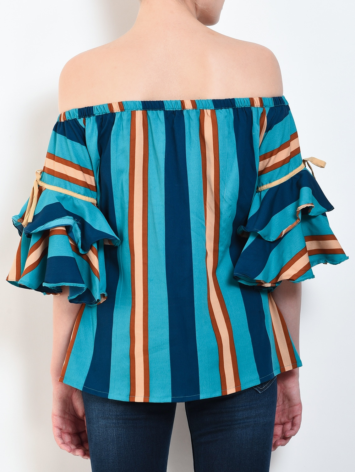 c087babdfdd4f Buy Tie Knot Sleeved Off Shoulder Striped Top by Kittu s - Online shopping  for Tops in India
