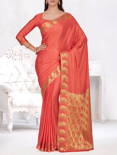 gold paisley border woven saree with blouse - 15464319 - Standard Image - 1