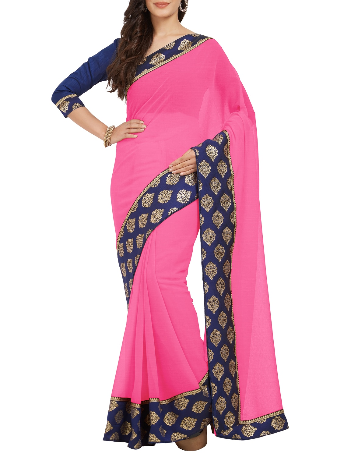 d608d2cdd Contrast Jacquard Border Pink Saree With Blouse