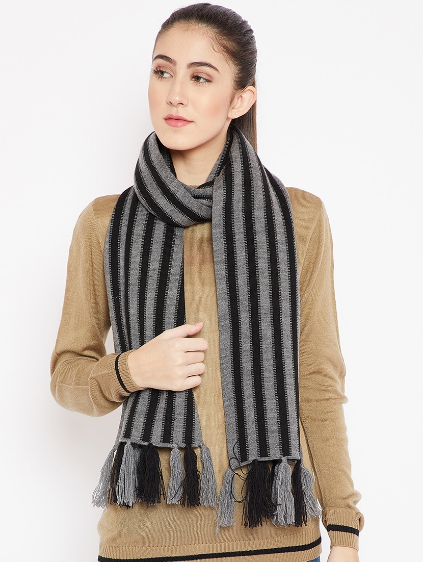 Buy Online Tassel Detail Striped Woolen Muffler From Mufflers Gloves Caps For Women By Cayman For 797 At 50 Off 2021 Limeroad Com