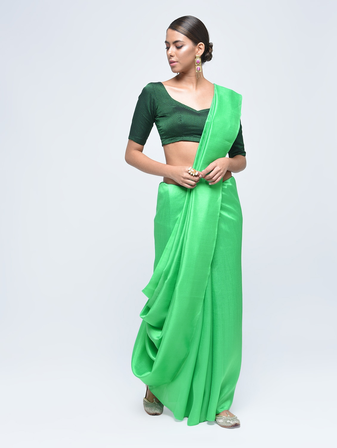 d28380565f8c01 Buy Plain Silk Saree With Tassels With Blouse for Women from Aaena for  ₹461 at 47% off | 2019 Limeroad.com