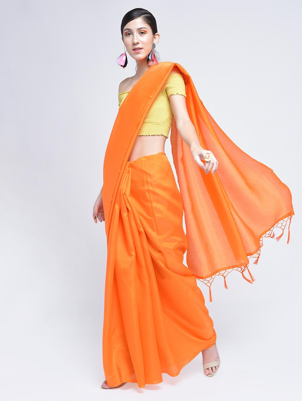 7b584096864c4b Tassels Pallu Plain Orange Saree With Blouse