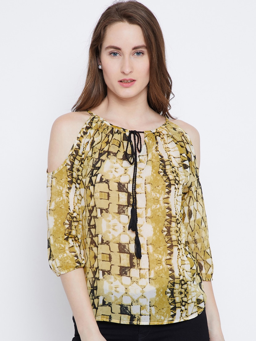 ce2e3adcf05efe Buy Cold Shoulder Tie-up Neck Printed Top by Rain Tree - Online shopping  for Tops in India