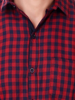 red cotton casual shirt - 15482956 - Standard Image - 4