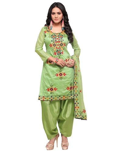 Embroidered unstitched salwar suit - 15484070 - Standard Image - 1