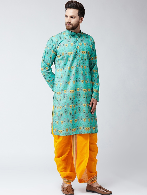5eaa6420d Buy Blue And Yellow Cotton Dhoti Kurta Set for Men from Sojanya for ₹2693  at 59% off