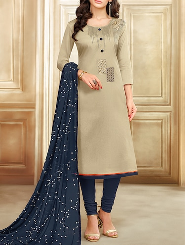 Embroidered unstitched churidaar suit - 15485861 - Standard Image - 1