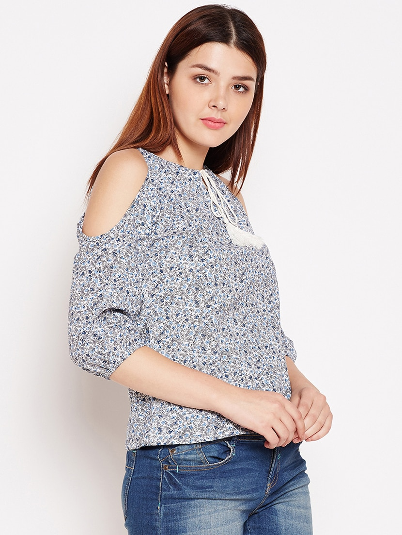 a548cd9c79ca0f Buy Tie Up Neck Cold Shoulder Printed Top for Women from Aask for ₹634 at  47% off