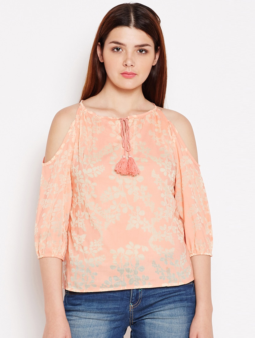 5dd154cb6db31a Buy Tie Up Neck Cold Shoulder Printed Top by Aask - Online shopping for Tops  in India