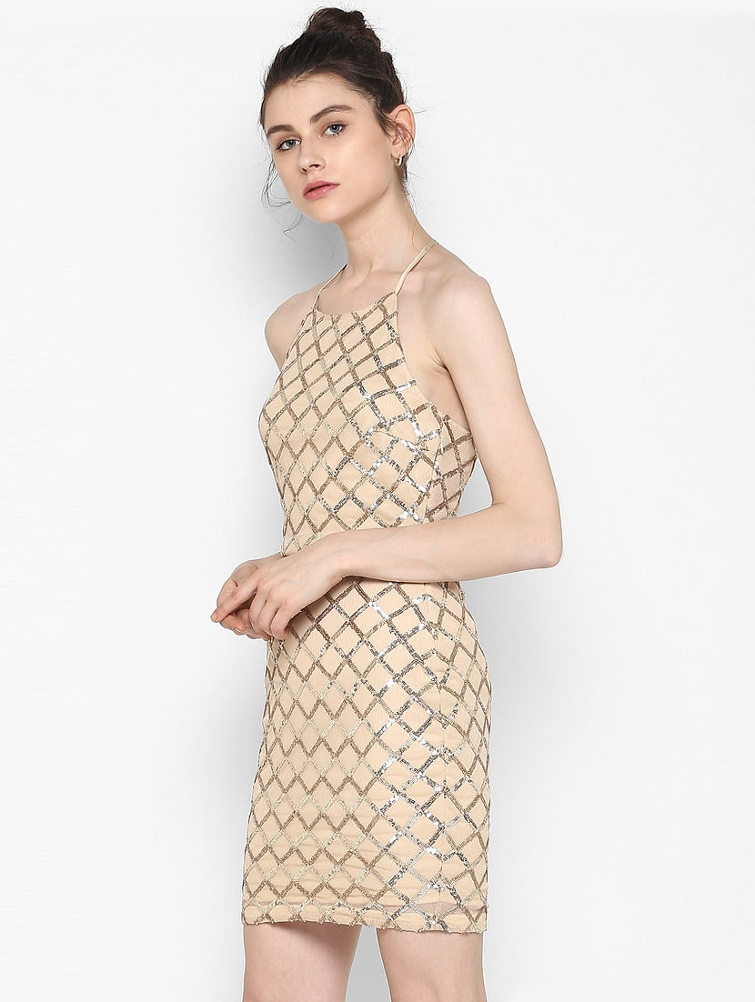 Buy Halter Neck Sequined Sheath Dress by
